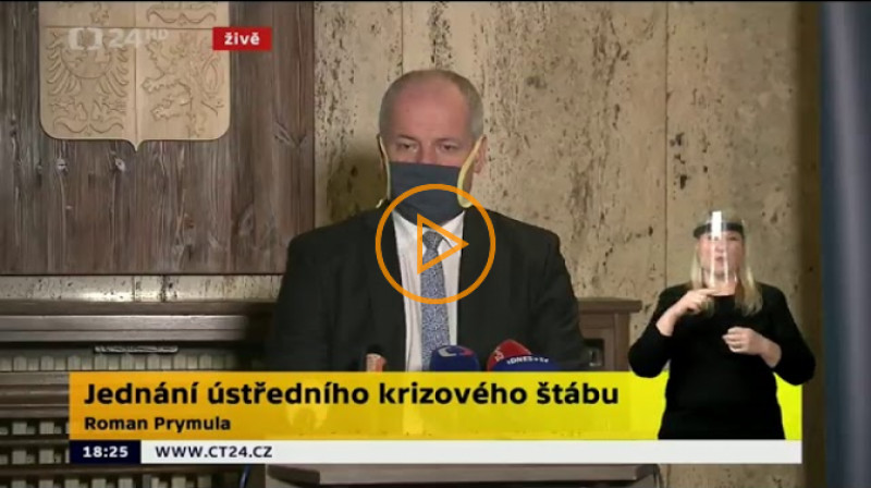 ČT24: Brífink Romana Prymuly po jednání ústředního krizového štábu