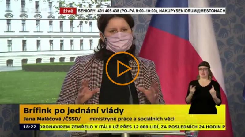 ČT24: Brífink po jednání vlády