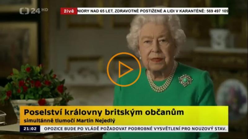 ČT24: Poselství královny britským občanům