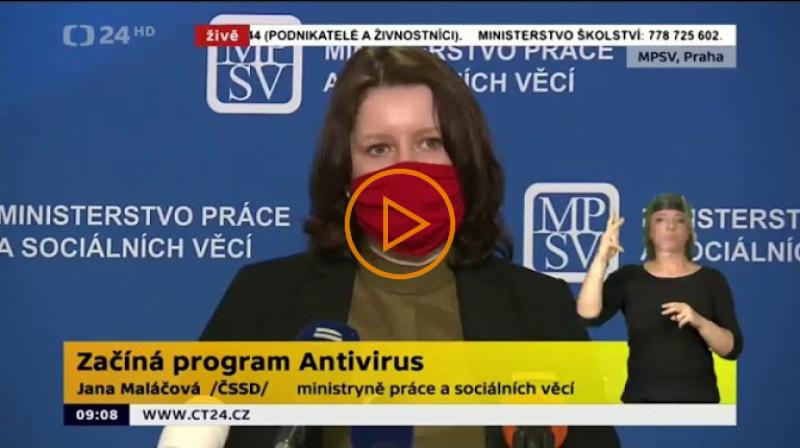 ČT24: Začíná program Antivirus. Tisková konference MPSV