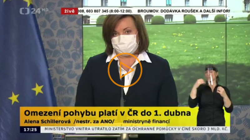 ČT24: Tisková konference po jednání vlády 23.03.2020